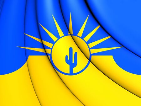 mesa: 3D Flag of Mesa (Arizona), USA. Close Up.