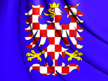 3D Flag of Moravia, Czech Republic. Close Up.