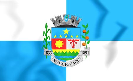 nova: 3D Flag of Nova Iguacu (Rio de Janeiro state), Brazil.