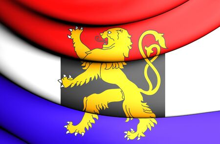 close up: 3D Flag of the Benelux. Close Up.