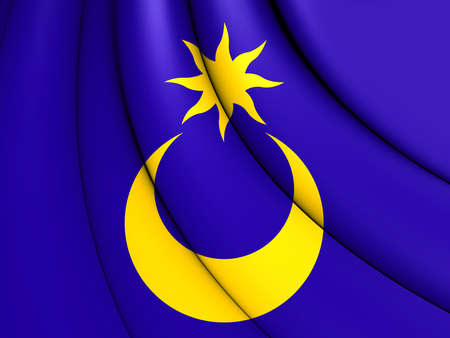 3D Flag of Portsmouth City (Hampshire), England. Stock Photo