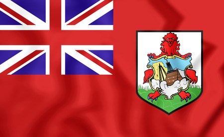 3D Flag of the Bermuda. Close Up.