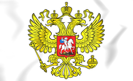 white headed: 3D Russia Coat of Arms. Close Up.