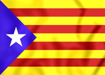 catalonian: 3D Blue Estelada Flag, Catalonia. Close Up.