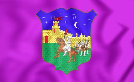 castilla: 3D Flag of Guadalajara City (Castilla-La Mancha), Spain. Stock Photo