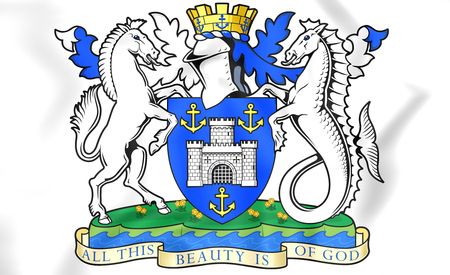 isle: 3D Isle of Wight Coat of Arms, England.
