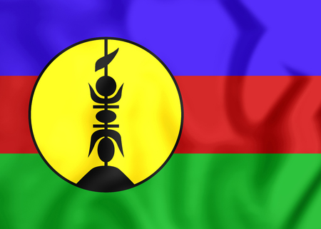 new caledonia: 3D Flag of New Caledonia. Close Up. Stock Photo