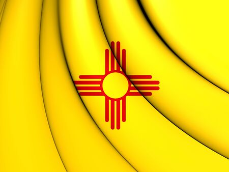 new mexico: 3D Flag of New Mexico, USA. Close Up.