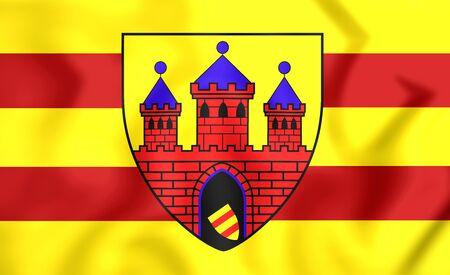 lower: 3D Flag of Oldenburg (Lower Saxony), Germany.