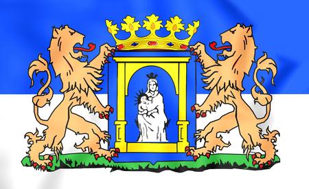 assen: 3D Flag of Assen (Drenthe), Netherlands. Close Up. Stock Photo