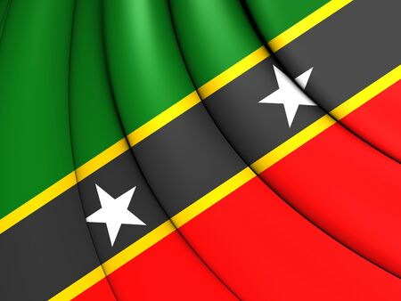 the federation: 3D Federation of Saint Kitts and Nevis Flag. Stock Photo