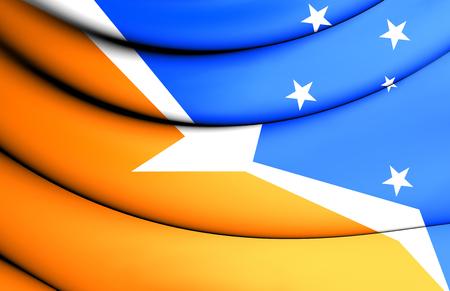 tierra del fuego: 3D Flag of Tierra del Fuego, Argentina.