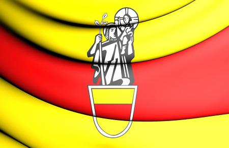 north rhine westphalia: 3D Flag of Werne (North Rhine-Westphalia), Germany. Stock Photo