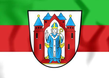 bavaria: 3D Flag of Aschaffenburg (Bavaria), Germany. Close Up. Stock Photo