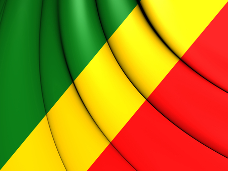 republique: 3D Republic of the Congo Flag. Close Up.
