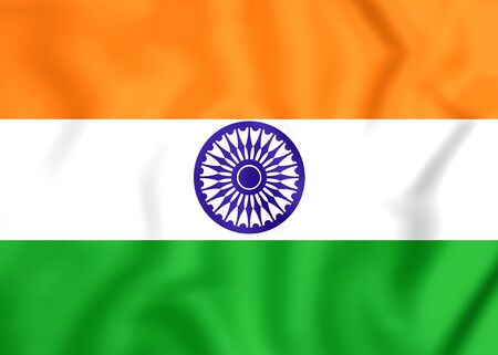 national flag: 3D Flag of the India. Close Up.