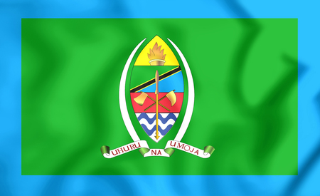 presidential: 3D Presidential Standard of Tanzania. Close Up.