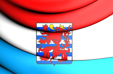 province: 3D Flag of Luxembourg Province, Belgium. Close Up.