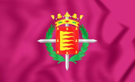 leon: 3D Flag of Valladolid City (Castile and Leon), Spain.