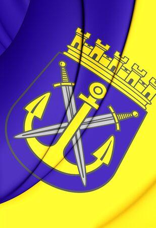 north rhine westphalia: 3D Flag of Solingen (North Rhine-Westphalia), Germany. Stock Photo