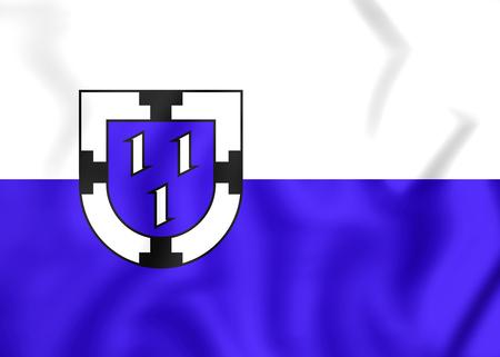 north rhine westphalia: 3D Flag of Bottrop (North Rhine-Westphalia), Germany.