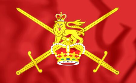british army: 3D Flag of British Army. Close Up.