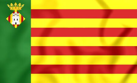 valencian: 3D Flag of Castellon de la Plana (Valencian Community), Spain.