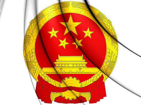 close up: 3D China Coat of Arms. Close Up.
