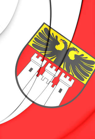 city coat of arms: 3D Flag of Duisburg (North Rhine-Westphalia), Germany.