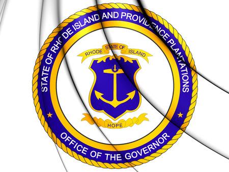 governor: 3D Governor of Rhode Island Seal, USA.