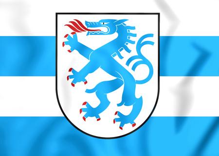 upper arm: 3D Flag of Ingolstadt, Germany. Close Up.