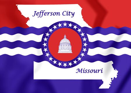city coat of arms: 3D Flag of Jefferson City, Missouri. Close Up.