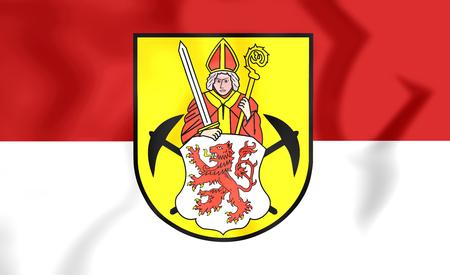limburg: 3D Flag of Kerkrade (Limburg), Netherlands. Close Up. Stock Photo