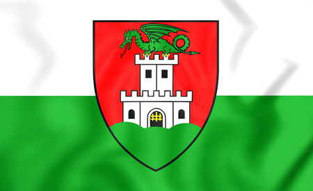 close up: 3D Flag of Ljubljana, Slovenia. Close Up.