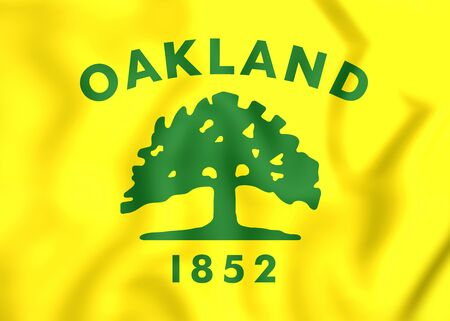 oakland: 3D Flag of Oakland City (California), USA.