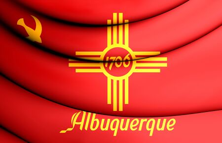 new mexico: 3D Flag of Albuquerque (New Mexico), USA.