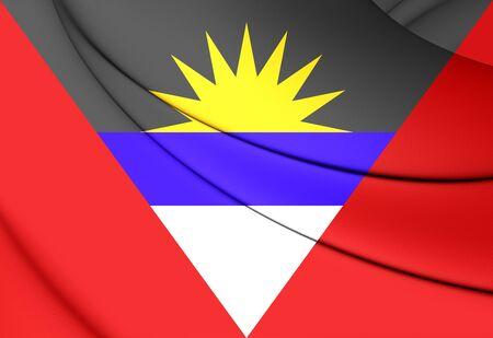 antigua: 3D Flag of Antigua and Barbuda. Close Up.