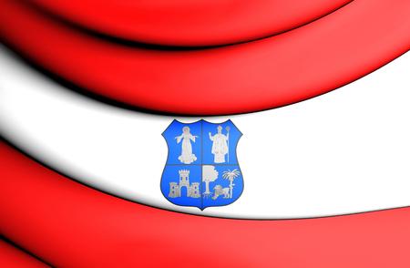 3d flag: 3D Flag of Asuncion, Paraguay. Close Up.
