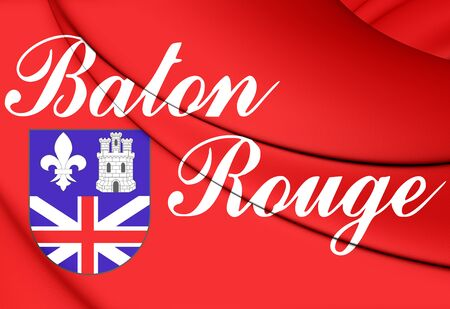 baton rouge: 3D Flag of Baton Rouge (Louisiana), USA. Stock Photo