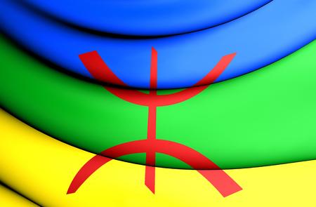 berber: 3D Berber Flag. Close Up. Front View. Stock Photo