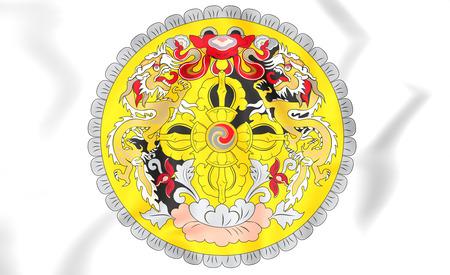 bhutan: 3D Bhutan Coat of Arms. Close Up.
