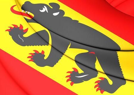 canton: 3D Flag of Bern Canton, Switzerland. Close Up.