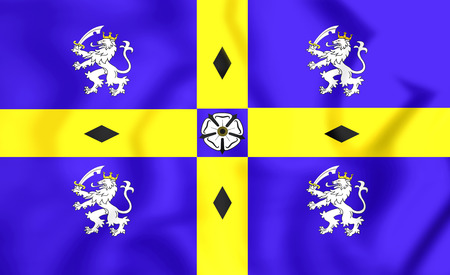 durham: 3D Flag of County Durham, England. Close Up.