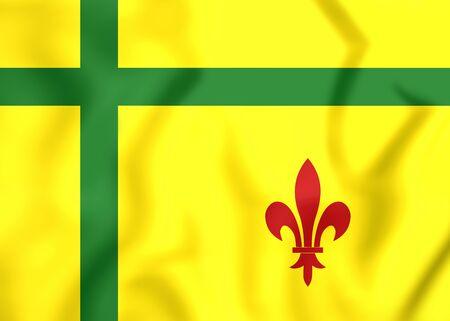regina: 3D Flag of Fransaskois, Canada. Close Up.