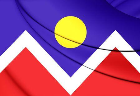 colorado flag: 3D Flag of Denver (Colorado), USA. Close Up. Stock Photo