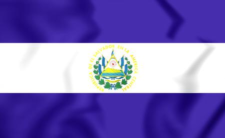 bandera de el salvador: Bandera 3D del El Salvador. Acercamiento.