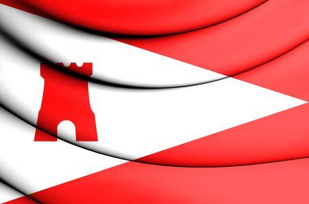 noord: 3D Flag of Etten-Leur (North Brabant), Netherlands.