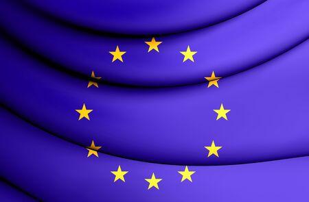european union flag: 3D Flag of European Union. Close Up.
