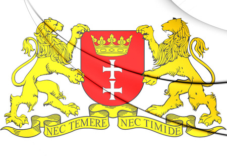 gdansk: 3D Gdansk Coat of Arms, Poland. Close Up.