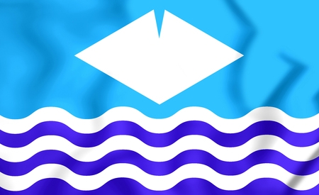 isles: 3D Isle of Wight Flag, England. Close Up. Stock Photo
